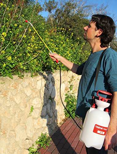 TABOR TOOLS 1.3 Gallon Lawn and Garden Pump Pressure Sprayer for Herbicides, Fertilizers, Mild Cleaning Solutions and Bleach, Includes Shoulder Strap (1.3 Gallon, Yellow Wand). N50A.