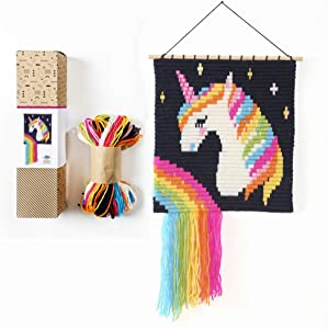 Sozo - Unique 3D Colorful DIY Wall Art Embroidery kit. Craft Kit for Beginners. Wooden Dowels Included for Easy Display. Easier Than Cross Stitch. Size - 12.75