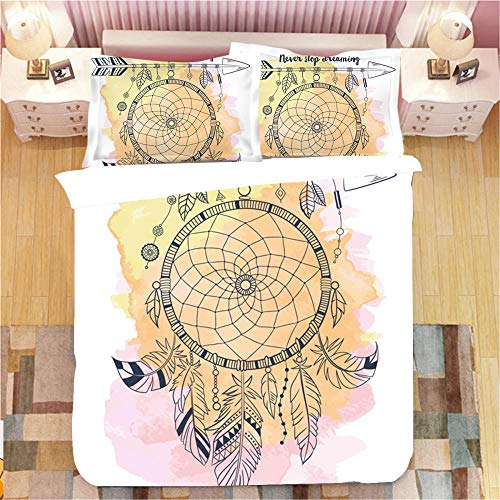 Gzsyb Bed Linen Duvet Set Cover And Pillow Case Microfibre With 1 Quilt Case 1 Pillowcases Case Vine dream catcher 3D Digital Print Three - Piece Bed Linen Single 135x200 cm