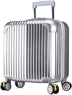 PC Durable Scratch-Resistant Password Boarding Hard Shell Travel Trolley Trolley Case 18 Inch Small Trolley Luggage (Color : Silver, Size : 18inch)