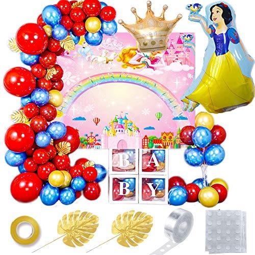 REYOK Juego de 44 globos de látex para fiestas de cumpleaños, color blanco, como la nieve, con accesorios