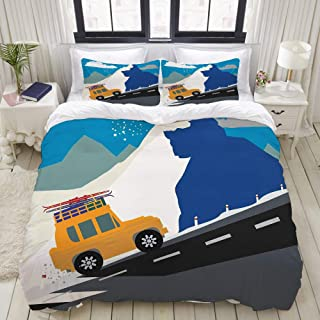 CANCAKA Duvet Cover Set, Winter Season Design Mountain Road Ski Holiday Themed Cartoon Style Composition, Custom 3 Piece Bedding Set with 2 Pillow Shams, King Size