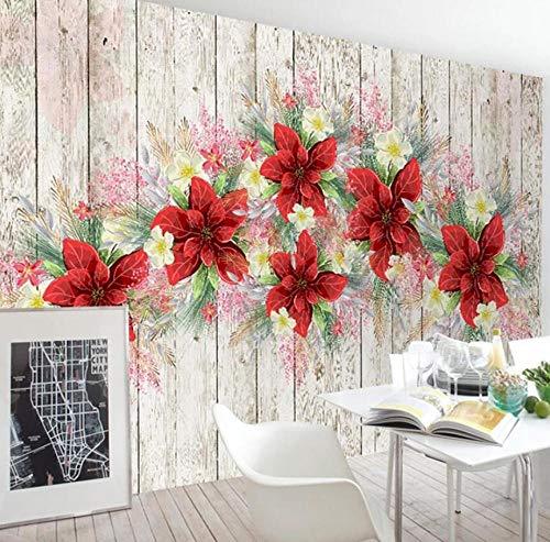 Retro houten plank met de hand geschilderd bloemen muur murals modern restaurant keuken muur huisdecoratie schilderij natuurlijke plantenvezel vliesbehang 300*210 300 x 210 cm.