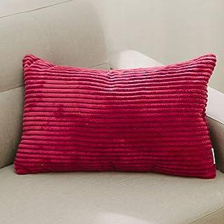 NATUS WEAVER Solid Striped Corduroy Oblong Lumbar Pillow Case Cushion Cover for Sofa, 30cm x 50cm,Burgundy