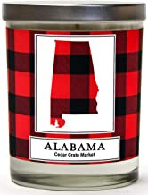 Alabama Buffalo Plaid Scented Soy Candle | Fraser Fir, Pine Needle, Cedarwood | 10 Oz. Glass Jar Candle | Made in The USA | Decorative Candles | Going Away Gifts for Friends | State Candles