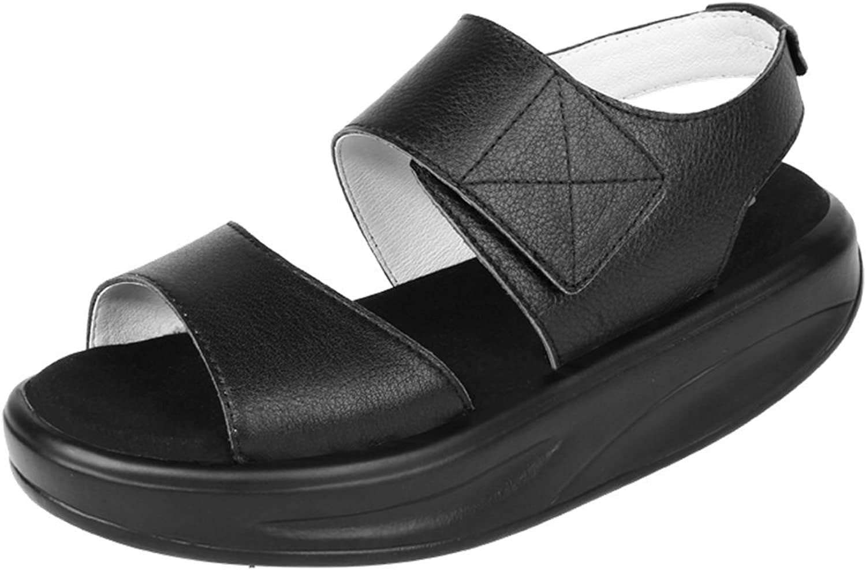pinkG Women's Leather Open Toe Casual Platform Swing Sandals Walking shoes