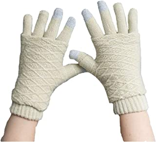 Women/Girls Touchscreen Knit Gloves-FuSi Cute Knit Thick Winter Warm Cycling Gloves
