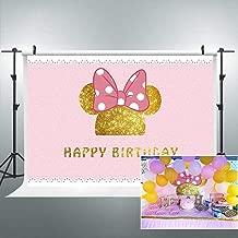 Riyidecor 1st Birthday Backdrop Mouse Polka Dots Pink Princess Girl Photography Background 7x5 Feet Newborn Decoration Celebration Props Party Photo Shoot Backdrop Vinyl Cloth