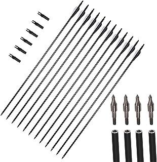 comprar comparacion 12 paquetes de 31 pulgadas flechas carbón tiro con arco espina 550 orientación Broadhead reemplazable Nock giratorio para ...
