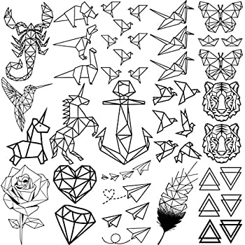 15 Sheets FANRUI Hollow Geometric Temporary Tattoos For Kids Women Unicorn Birds Anchor Paper Cranes Airplane Small Tattoo Temporary Scorpion Dinosaur Triangle Girl Boy Child Fake Face Tatoos Kit Men