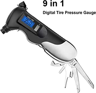XELECT 9-in-1 Digital Tire Pressure Gauge,150PSI with Multi-Functional Rescue Tools of LED Flashlight,Safety Glass Hammer, Seatbelt Cutter, Gauge Tyre Profile, Bottle Opener for Cars and Motorcycles