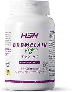 Bromelina de HSN   500mg   Enzimas Digestivas, 2500 GDU/g   100% Natural A partir de la Piña para Digestión de Proteínas   Suministro 2 Meses   Vegano, Sin Gluten, Sin Lactosa, 120 Cápsulas Vegetales