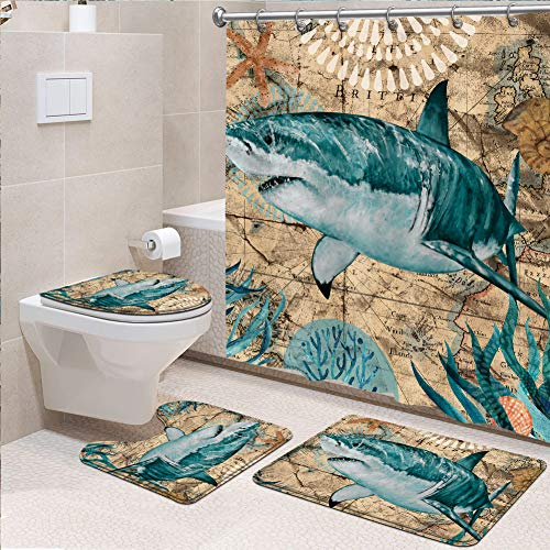 Genrics 4 Stück Sea Shark Duschvorhang-Set Nautical Ocean Stoff Duschvorhang mit rutschfestem Teppich, WC-Deckelbezug, Badematte & 12 Metallhaken für Badezimmer