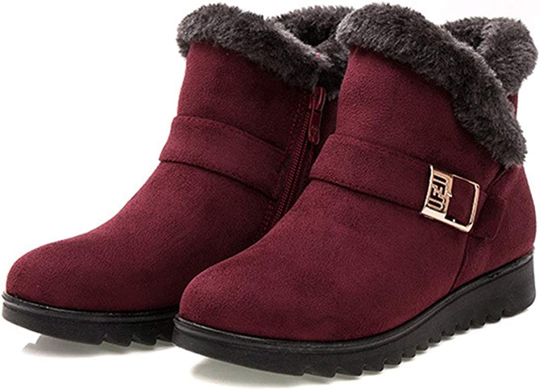 EISHOW Fashion Women's Snow Boots Warm Fur Lining Ankle Bootie Outdoor Anti-Slip Winter Boots Shoes Footwear Size 5-9.5