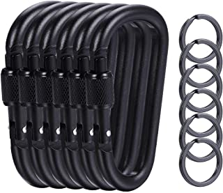 """6 Pieces Upgraded Black Locking Carabiners, 3.1"""" D Shaped Karabiner Clips for Outdoor, Camping, Hiking, Fishing, Travel, 6..."""