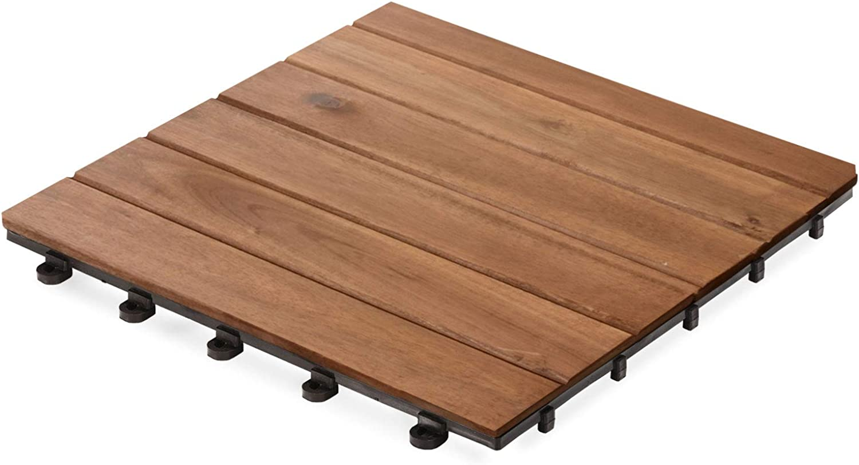 Casa pura Interlocking Acacia Wood, Garden & Patio Decking Tiles  11 Tiles, 30x30cm (1m2)   Multiple Tile Sets Available, Arden