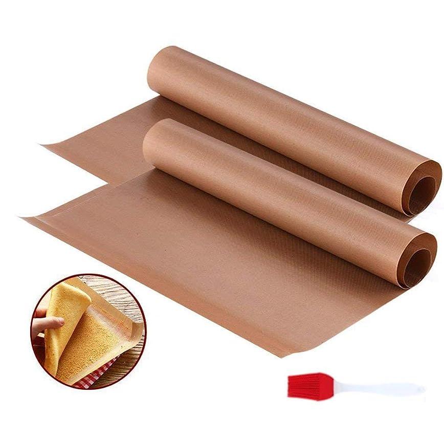 袋スパン決済JUSLIN クッキングシート オーブンシート テフロン 加工 耐熱 耐油 耐久 水洗い可能 繰り返し使える 3枚 40*60cm シリカゲルプラシ 1本付き