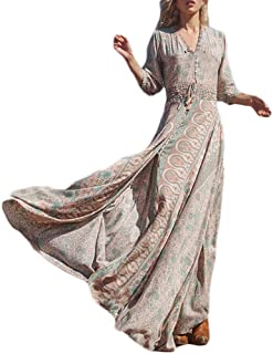 Vestiti Lunghi Donna Eleganti Vestito Estivi Manica 3/4 V Collo Boho Vestito Chic Ragazza Mare Lunga Vita Elastica Fiori S...