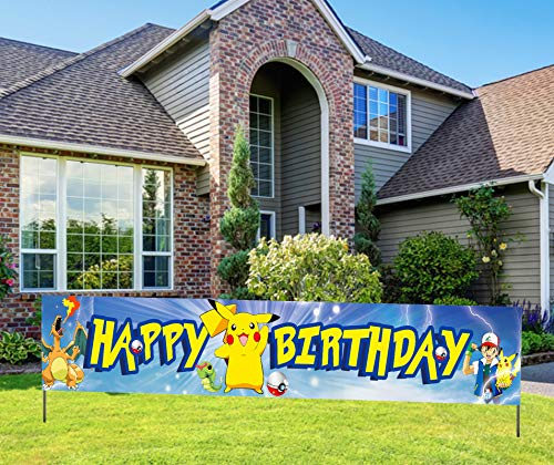 Large Pokemon Happy Birthday Banner, Pocket Themed Monsters Birthday Sign, Pikachu Birthday Decorations Party Supplies (9.8 X 1.6 Feet )