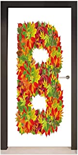 Letter B Self Adhesive Wall Sticker Seasonal Leaves Fall Color Alphabet Capitalized B Symbol Second Letter Environmental Waterproof Vermilion Yellow Green,W17.1xH78.7