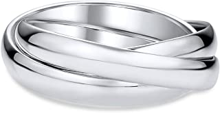 Simple 925 Sterling Silver Dome Rolling Russian Couples Wedding Band Ring For Women For Men