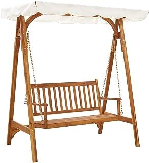 vidaXL Solid Acacia Wood Garden Swing Bench with Canopy Outdoor Furniture Garden Backyard Seat Porch Wooden Swing Chair Pa...