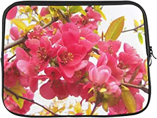 Design Custom Flowering Quince Japan Pink Spring Flowers Shrub Sleeve Soft Laptop Case Bag Pouch Skin for MacBook Air 11