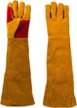 Extra Long Leather Welding Gloves Pet Gloves - Heat Resistant/Fire Resistant, Very Suitable for Gardening Fireplace Welding Animal Treatment