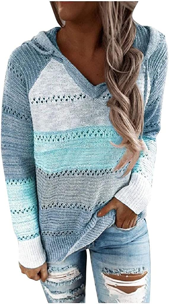 AODONG Women's Lightweight Color Block Knit Hoodies Sweaters Loose V Neck Long Sleeve Drawstring Pullover Sweatshirts