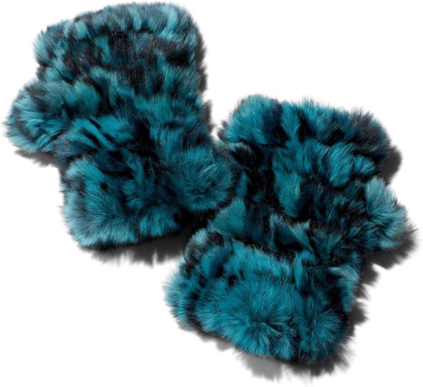 Designer Jocelyn Mandy Knit Rabbit-Fur Fingerless Mittens Green Blue