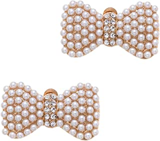 Casualfashion Korean Fashion Luxury Pearl Rhinestones Bow Shoe Clips Buckles Crystal Bowknot Hat Dress Shoes Clip Decoration (Gold Tone Pearls)