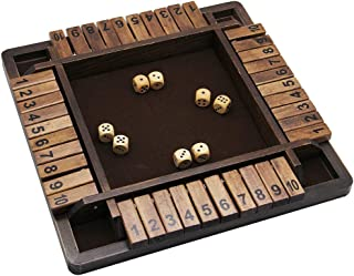 Juegoal Wooden 4 Players Shut The Box Dice Game, Classics Tabletop Version and Pub Board Game, 12 inch