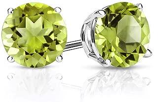 925 Sterling Silver Green Peridot Stud Women's Earrings Gemstone Birthstone 2.70 Ctw Round 7MM