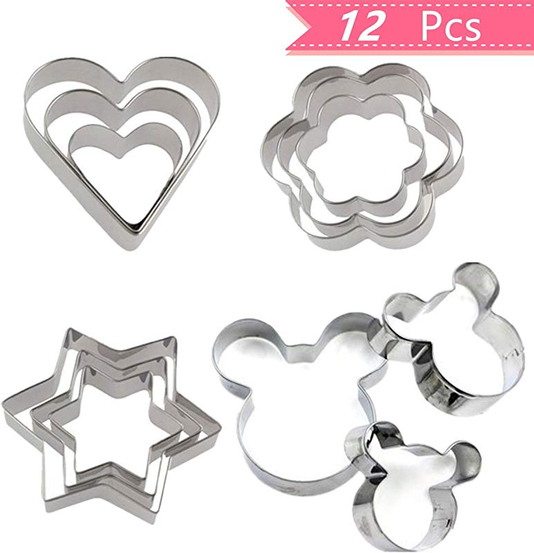 Mini Cookie Cutters Shaped Set Stainless Steel Pastry Pie Crust Vegetable Fruit Cookie Cutter Mickey Mouse Star Heart And Flower