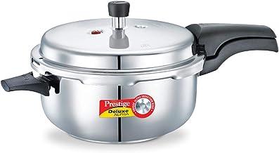 PRESTIGE Alpha Deluxe Induction Base Stainless Steel Deep Pressure Pan, Silver, 5.0-Liter, PRDADP
