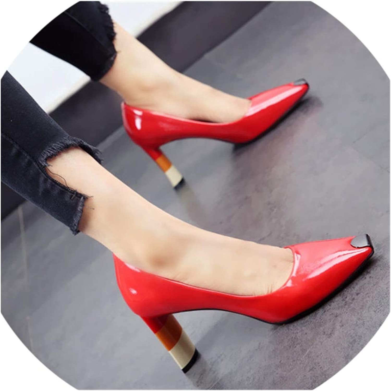 colord Heel Women High Heel shoes Metal Square Toe Girls Party Wedding shoes Spring Women Pumps