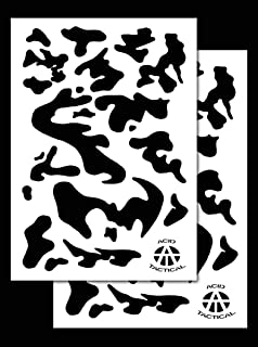 Acid Tactical 2 Pack - 9x14 Single Design Camouflage Airbrush Spray Paint Stencils - Duracoat Gun (Army Camo)