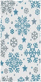 Wamika Snowflakes And Stars Hand Towels Winter Christmas Bath Bathroom Towel Multipurpose Fingertip Towels Highly Absorbent for Bath,Hand,Face,Gym,Spa,30 X 15 Inch