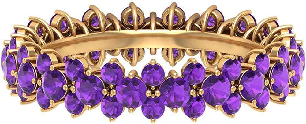 Round Trust Shaped 2.54 CT Certified Ring online shop Floral Band Gemstone Purple