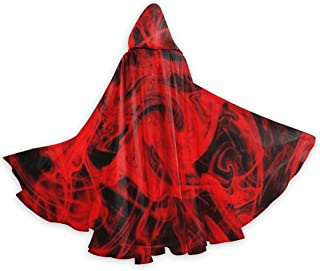 Red Flames Cool Men Tunic Hooded Robe Cloak Knight Fancy Cool Cosplay Costume