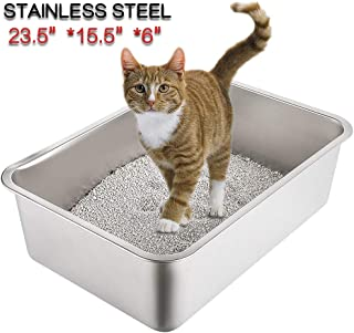 Yangbaga Stainless Steel Litter Box for Cat and Rabbit, Odor Control, Non Stick Smooth Surface, Easy to Clean, Never Bend, Rust Proof, Large Size with High Sides and Non Slip Rubber Feets