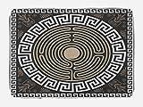 Ambesonne Greek Key Bath Mat, Grecian Fret and Wave Pattern on Dark Background Antique Retro Swirls, Plush Bathroom Decor Mat with Non Slip Backing, 29.5' X 17.5', Brown Coconut