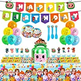 Cocomelon Birthday Party Supplies,125pcs Birthday Party Decorations Include Happy Birthday Banner,Tablecover,Plates,Knives,Spoons,Forks,Cake Toppers,Cupcake Toppers,Chocolate Stickers,Latex Balloons