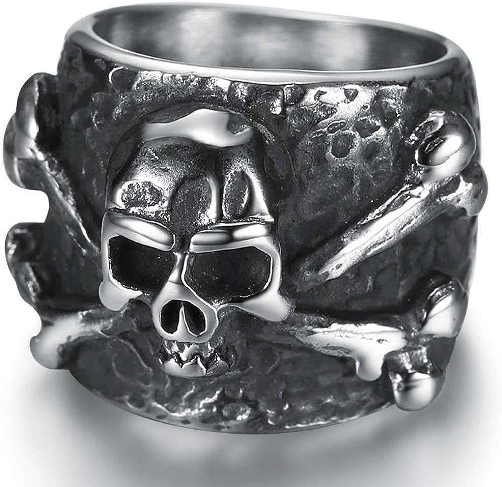 Jude Jewelers Stainless Steel Retro Vintage Stull Bone Gothic Poison Halloween Party Biker Statement Ring