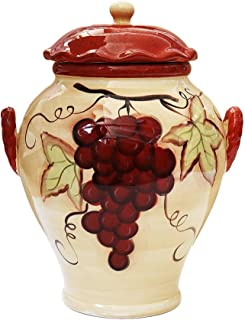 Tuscany Vineyard Sonoma Collection, Hand Painted Ceramic Cookie Jar w/ Lid, Sonoma Grapes 12 3/8
