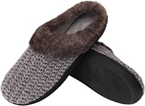 B-BEE Women's House Slippers Soft Knit Memory Foam Slippers Slip-on Antiskid Indoor Shoes