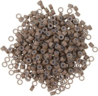 Silicone Micro Ring Link Crimp Beads FEATHER Hair Extension Wig 500pcs/Box - Light Brown