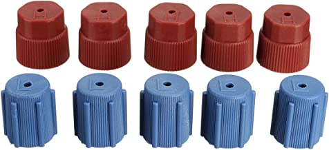 10Pcs/Set R134a 5 Blue Low 13mm & 5Red High 16mm Air Conditioning Service AC System Charging Port Caps (5Red High & 5Blue Low)
