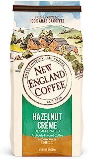 New England Coffee Hazelnut Creme, Decaffeinated Medium Roast Ground Coffee, 10 Ounce Bag