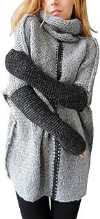 Minetom Mujer Otoño Invierno Suéter Tipo con Cuello de Tortuga Jerséis Cálido Tops Blusa Moda Prendas de Punto